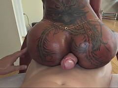 bella bellz rubbing that enormous cock with the cheeks of her giant butt