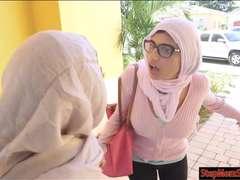 Two Arab women shared a hard man meat