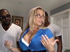 beatiful blonde milf going all in with a gang of black guys