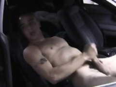 Straight punk jerking his cock in car