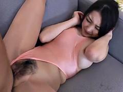Tearing woman stockings leotard