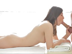 fantina is a cute brunette chick in need of a masseur's big cock