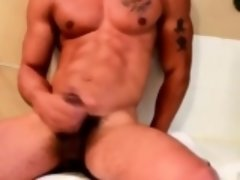 BBC beefy jock solo jerkoff and cum session