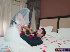 Busty bride gets fucked by her crush on wedding night