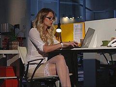 Tussi, Blondine, Bekleidet, Brille, Absätze, Nackt, Büro, Sekretärin