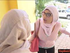 Two Arab women shared a hard man meat
