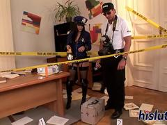 Saucy policewoman receives a rough anal plowing