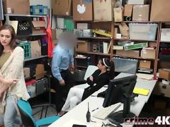 Step Daughter And Step Mom Shoplifters Office Doggy