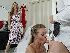 Schlafzimmer, Blondine, Braut, Kleid, Familie, Frau frau mann, Hardcore, Hochzeit