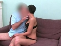 Sexy brunette broad from FakeAgent goes