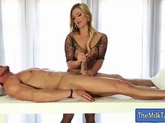 Luscious masseuse blowjobs her clients big hard cock