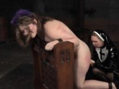 Cuffed bdsm sub gets panty insertion in trio