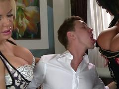2 Huge Tits Stepmoms Fucking A Lucky Guy Hard