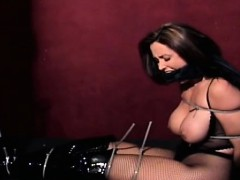 Fastened up and teased by sextoy