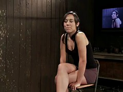 awesome strapon action in bondage sex scene