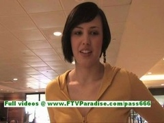 Zeba adorable brunette teenage with natural tis talking about herself