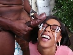 Ebony woman with a massive ass is getting a hot load in her face