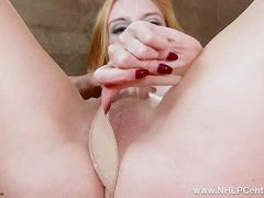 Big tits redhead babe Alexa Red plays with juicy trimmed pantyhose pussy in high heels
