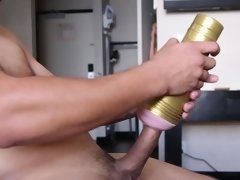 Blonde helps a guy masturbate with a sex toy and then gives her pussy