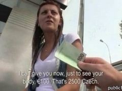 Innocent Czech broad waitng for a tram is convinced and plus gets her cunt fucked doggystyle outdoor for money