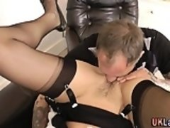 Cum face stockings mature
