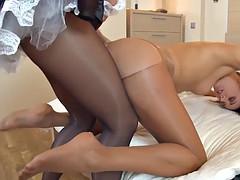 french maid strap-on sex w/ gina & roxie