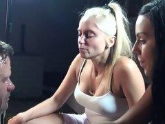 2 girls spit on slave face