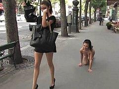European girl enslaved in public