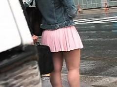 素人, アジア人, 日本人, アウトドア, 公共, スカートのぞき