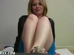 Cuckoldress Dom comes home from a date with a positively fella to humiliate her sissy by wiping her cummy feet on her sissy slave's chastity