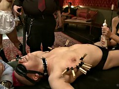 horny ladies have some bondage fun with their masters