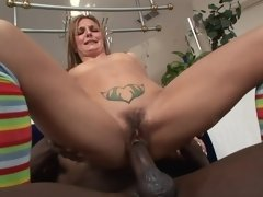 Raunchy blonde gal needs a big chocolate meat pole right now