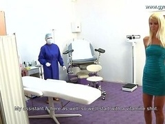Babe gets injection before gyno exam