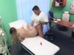 Beautiful ass blonde examined in fake hospital