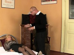 Astonished babe in lingerie is geeting peed on and rode