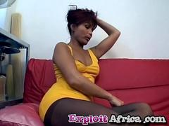 Big titted African slut loves to suck and rode hard white cock