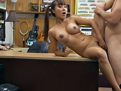 Asian woman pawns her pussy then fucked at the pawnshop