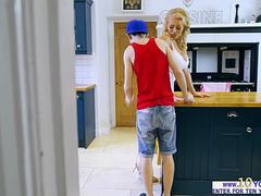 Hot MILF Rebecca Jane Smyth swallows teens big cock
