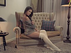 Little Caprice teasing by spreading
