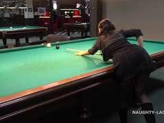 Public flashing  in the billiard club