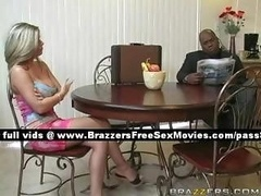 Lovely aged blonde wife at home with her husband