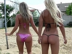 Pool group intercourse with Euro babes