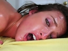 Brunettes tight pussy is being rubbed and licked on the table