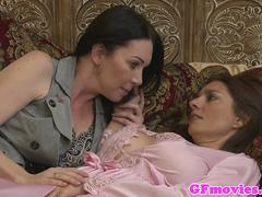 Busty MILF scissoring with her lesbian gf