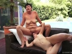 aged granny with her daughter in-law kissing and fingering