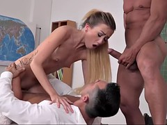 naughty empera gets double penetrated by teachers in college