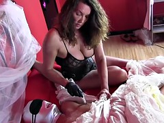 femdom strapon jane has crossdressing sissy bride bound and pegged for anal toying and handjob