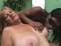 Ebony T-girl anb Blonde Granny - Part 1