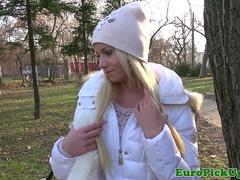 Clitpierced pulled euro fucked in the park
