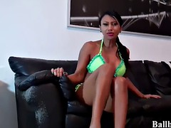 Ballbusting and kicks from two femdom